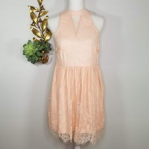 CALS Fit & Flare Coral Peach Lace Back Dress L